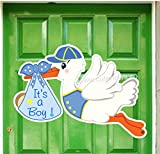 It's a Boy Stork Announcement Sign - Welcome New Baby Door Hanger - Baby Shower Sign Party Decorations