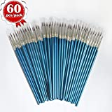 SUNSHINE XUE 60 Pieces Pointed Round Painting Brush,Hand Made Thread Drawing Brush,Detail Paint Brush for Acrylic, Oil and Watercolor (M)