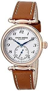 Akribos XXIV Women's AK704BR Impeccable Swiss Quartz Rose-tone Stainless Steel Tan Leather Strap Watch