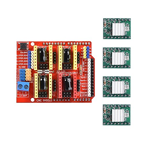 KINGPRINT CNC Shield V3.0 Expansion Board for Arduino with 4pcs A4988 Stepper Motor Driver with Heatsink kits for Arduino by KINGPRINT
