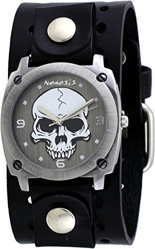 Nemesis #B926K Men's Gun Metal Skull Dial Wide Leather Cuff Band Watch (Watch Leather Band Skull)