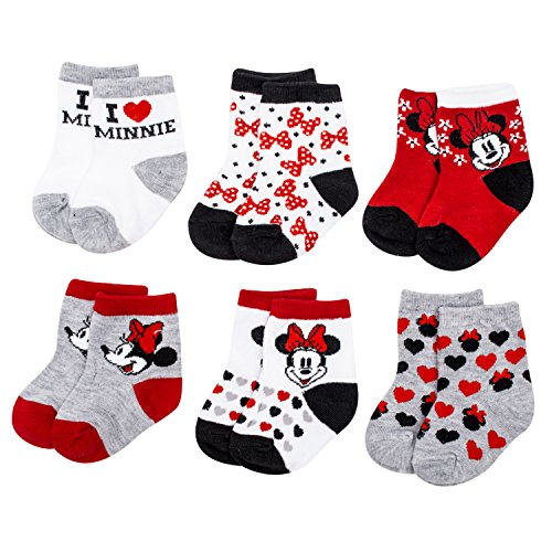 Minnie Mouse Baby Outfits - Disney Minnie Mouse Anti-Slip Cozy Baby Socks for Girls, Cartoon Newborn Friend, Socks for Toddlers, 6 Pack, 12-24M