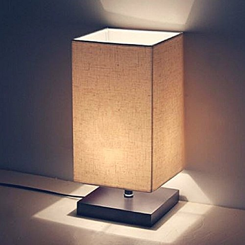 Table Lamp, Wooden Bedside Lamp,Minimal Design Wooden Table Lamp, Linen Shade Solid Table Lamp &ebook Home Decor