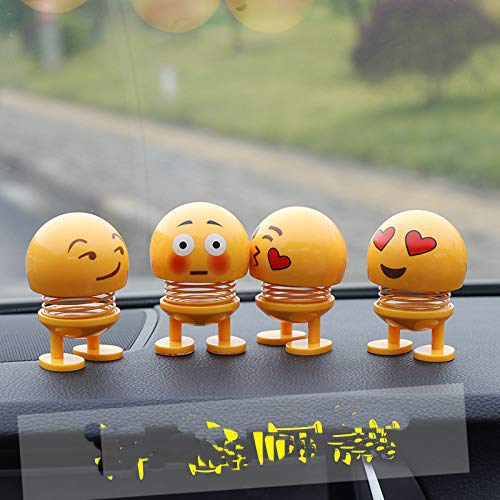 (4 Pcs Smiling Face Spring Bouncing Doll Car Smiley Doll Cute Emoji Bobble Head Dolls Funny Smiley Face Springs Dancing Toys for Car Dashboard Ornaments Party Favors Home Decorations)