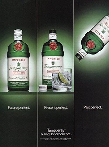 """Magazine Print Ad: 1992 Tanqueray Gin, """"Future Perfect, Present Perfect, & Past Perfect"""""""