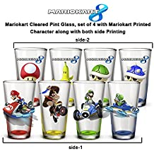 4-Pack 16oz GIFT SET Nintendo OFFICIAL Mario Kart PREMIUM Pint Glass Gift Set with Mario, Luigi, Donkey Kong and Yoshi