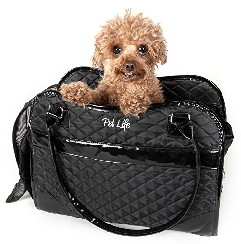 PET LIFE 'Exquisite' Handbag Fashion Designer Travel Pet Dog Carrier, One Size, Black ()