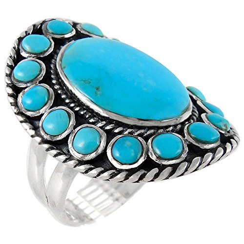 925-Sterling-Silver-Ring-with-Genuine-Turquoise-Sizes-6-to-13-Statement-Ring