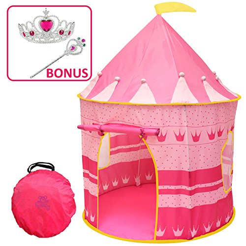 Kiddey Princess Castle Kids Play Tent - Indoor/Outdoor Pink Children Playhouse Great Gift Idea for Boys/Girls, Easy Set up and Storage, Best Quality,