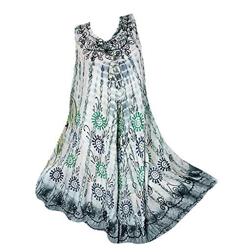 Womens Plus Size Tank Dress, Tie Dyed Sleeveless T Shirt Dress, Round Neck Camisole Shift Dress Flare Flowy Dresses Grey