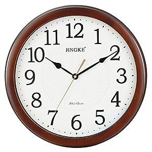 Wall clock Reloj de Pared del Reloj, Reloj de Pared de la Sala Mudo Reloj de Pared Redondo Caja de Madera de PVC marcar 16 Pulgadas 8