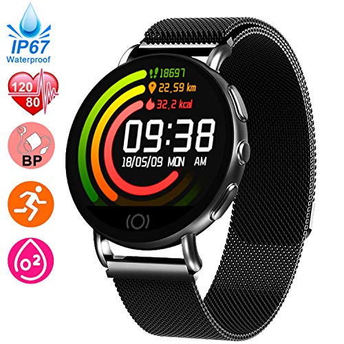 Fitness Tracker for Women - Heart Rate Blood Pressure Blood Oxygen Monitor Watch, Sport Business Watch, IP67 Waterproof Activity Tracker, GPS Pedometer Calorie Smart Watch Tracker, Mothers Day Gifts -