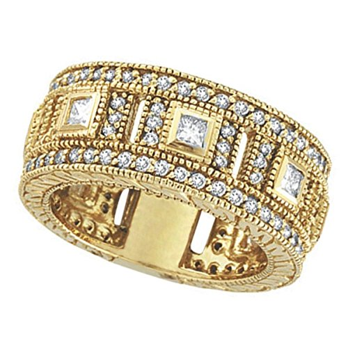 Round and Princess Eternity Diamond Byzantine Ring 14k Yellow Gold (1.72ct)