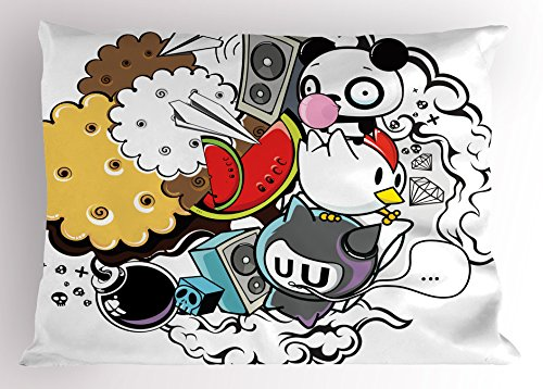 Ambesonne Indie Pillow Sham, Animal and Food Themed Composit