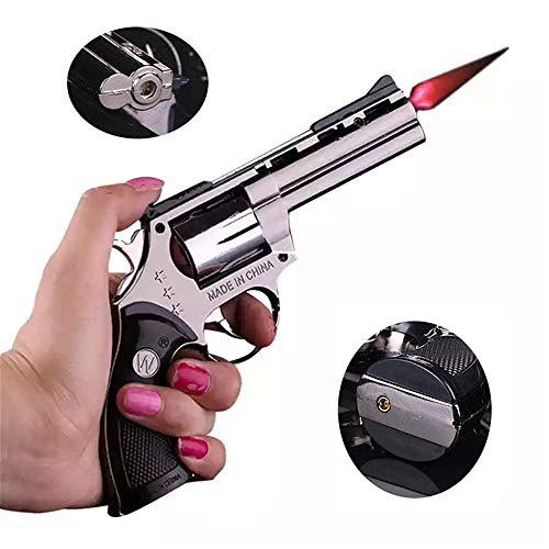 FengFang Windproof Lighter Revolver Metal Model can be fire Size Adjustment Reuse Inflatable Butane Cigar Torch ()