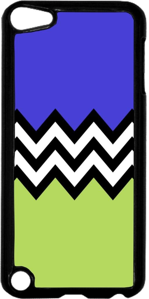 Black and White Chevron with Purple and Green Colorblock- Case for the Apple Ipod 5th Generation-Hard Black Plastic