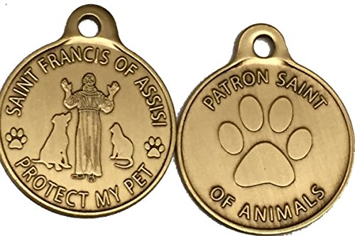 Saint Francis of Assisi Patron Saint Of Pets / Protect My Pet Bronze Dog Cat Tag Charm from RecoveryChip