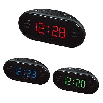 NDSNQ Reloj Despertador Radio de frecuencia Dual Reloj Despertador Reloj led Digital Reloj Luminoso Reloj Despertador Reloj de Escritorio electrónico en ...