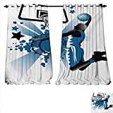 Best Div X Players - familytaste Waterproof Window Curtain Silhouette Basketball Player Jumping Review