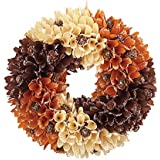Collections Etc Rustic Front Door Autumn Wreath w/Wooden Curl Flowers