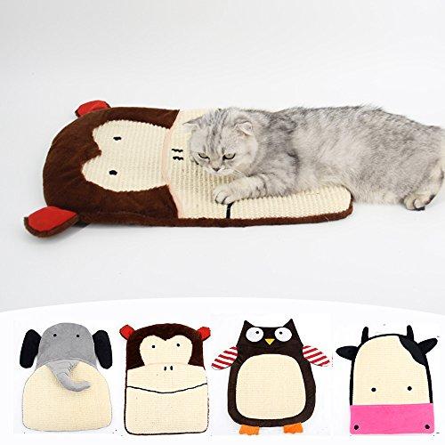 (MYIDEA Sisal Plush Cat Scratch Pad - Natural 100% Handmade Hemp Resting Pad Mat for Cat or Kitten with Bells)