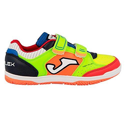 Joma Top Flex Jr, Zapatos de Futsal Unisex Niños amrillofluor,naranjafluor,azulmarino