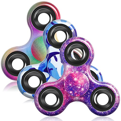 3 Pcs EDC Spinner Fidget Toy, YuCool Tri-Spinner Stress Reducer Bearing ADHD Autism Focus Camouflage Colorful 1+Mins for Kids and Adults