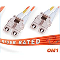 300M OM1 LC LC Fiber Patch Cable | Duplex 62.5/125 LC to LC Multimode Jumper 300 Meter (984.25ft) | Length Options: 0.5M-300M | FiberCablesDirect | Alt: ofnr lc-lc 62.5 dup mmf lc/lc mm dx orange pvc