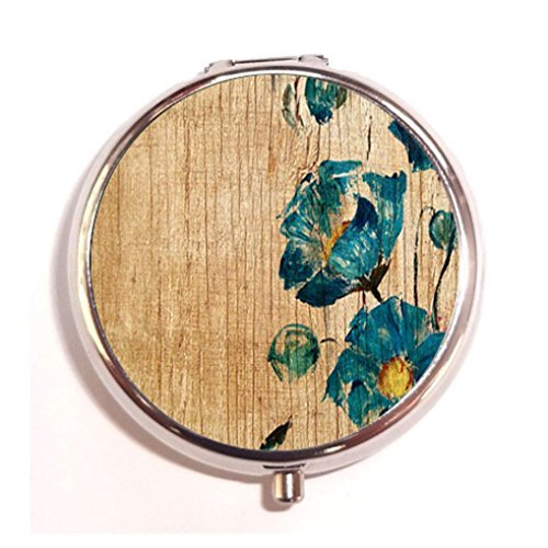 Flower Wooden Floral Wood Ink Painted Vintage Custom Fashion Pill Box Medicine Tablet Holder Organizer Case for Pocket or Purse - Wooden Pill
