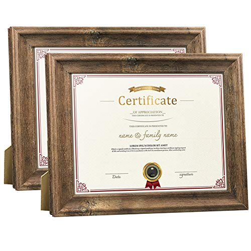 (Dreamyard 2-Pack 8.5x11 Document Picture Frames Set Brown Wood Diploma Certificate Award Photo Frame for Tabletop Stand or Wall Hanging)