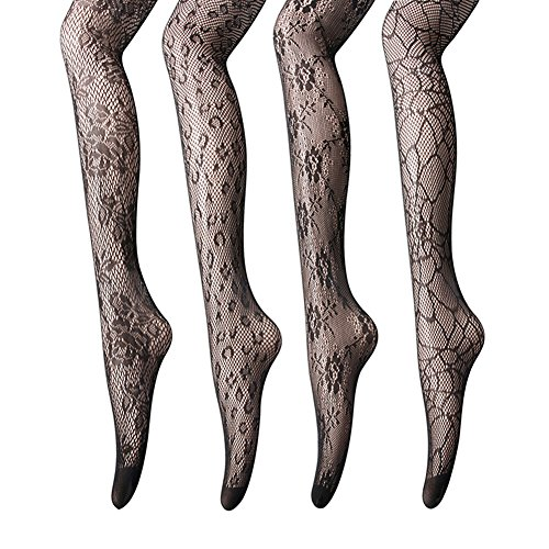 Women Fishnet Stockings - 3 or 4 Pairs Fishnets Tights for Dancing Party Halloween (One Size, Black Mix1, 6 pairs) (6 Pack Of Fishnet Fashion Tights Black)