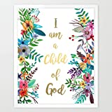 Eleville 8X10 I am a child of god Real Gold Foil and Floral Watercolor Art Print (Unframed) Housewarming Gift Nursery Quote kids wall art Motivational Poster Baby Shower Gift Holiday Gifts WG020