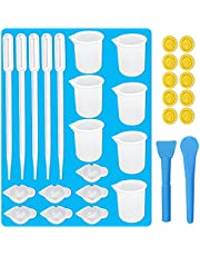 15 PCS Silicone Mold Cup Dispenser,Epoxy Resin Mold Mini Measuring Cup Glitter Mixing Bowl Color Modulation Tools for DIY UV Resin Craft