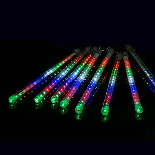 TTLIFE 240 LED Falling Rain LED Lights with 50cm 8 Tube , Meteor Shower Light, Falling Rain Drop Christmas Lights, Icicle String Lights for Holiday Party Wedding Christmas Tree Decoration(MULTI) (Line Out Christmas Tree)