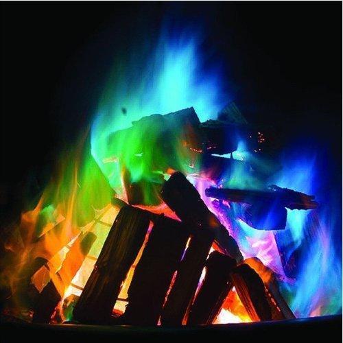 Giuka Mystical Fire Magic Tricks Coloured Flames Bonfire Sachets Fireplace Pit Patio Color Toy Professional Magicians Pyrotechnics