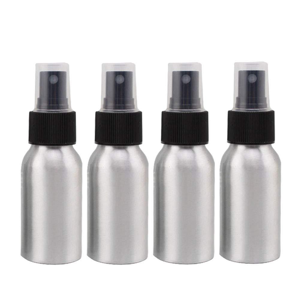Furnido Aluminium-Sprühflaschen für ätherisches Öl, 50 ml, nachfüllbar, für Parfüm, feiner Nebel, Zerstäuber, leer, Kosmetikflaschen, Metallbehälter, für Reisen, 4er-Packung Black Caps nachfüllbar für Parfüm Zerstäuber Metallbehälter