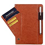 For iPad 9.7 2018 & 2017/Pro 9.7/Air 2/Air Case, Bluwee Premium PU Leather Stand Folio Case Smart Auto Wake/Sleep Cover w/Rotating Card Slots & Pencil Holder(Stylus Pen not included)(Brown)