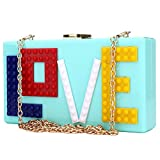 Womens Love Acrylic Clutch Evening Party Bag Purse Handbag for Women Ladies Ideal Gift (Cyan)