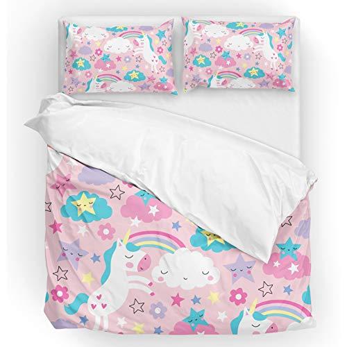 - U LIFE Bedding Duvet Cover Set Queen Size 3 Piece Set 1 Quilt Cover and 2 Pillow Cases Shams Unicorn Rainbow Pink for Kid Boy Girl Women Men