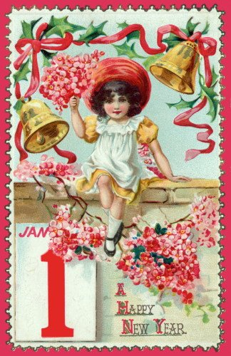- Vintage New Year's Art~Pretty Girl with Pink Flowers & Ribbons~Bells~6 pack NEW Matte Vintage Picture Large Blank Note Cards with Envelopes