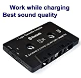 Newest iTape Audio Cassette Adapter - Bluetooth Music Receiver Work While Charging for Car Cassette Decks