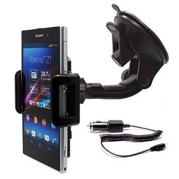 mobilefox® 441026 - Soporte de coche para Sony Xperia Z1 (incluye cargador), negro [Importado]