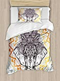 Elephant Mandala Duvet Cover Set by Ambesonne, Grey Backdrop Indian Ethnic Animal with Lotus Flower Crown, 2 Piece Bedding Set with Pillow Sham, Twin / Twin XL, Black White and Yellow