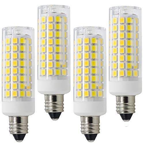 E11 LED, All-New Dimmable E11 Candelabra Base Bulbs, 75W 100W Equivalent, 120V 8W JD T4 Bulb, 102X2835SMD 360 degree Indoor lighting (Pack of 4) (Cool White)