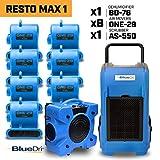 BlueDri RESTO MAX 18X 1/3 HP One-29 Air Movers Carpet Dryer Blower Floor Fan1x 76 Pint Commercial Dehumidifier1x Air Scrubber Negative Air Machine Blue