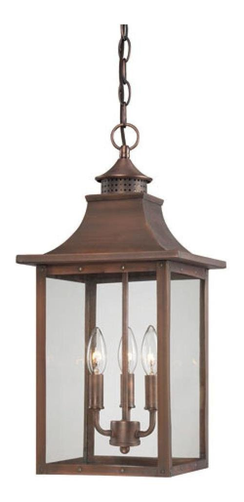 St. Charles Collection Hanging Lantern 3-Light Outdoor Copper Pantina Light Fixt