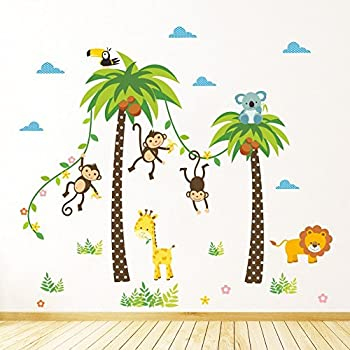 ZRSE DIY Removable Jungle Animal Kindergarten Baby Room Stickers Wall Decals Cartoon Monkeys & Coco Nut Tree Nursery Decal Easy to Peel Easy to Stick Safe on Painted Walls Large ( 3.9 X 3.5 Feet )