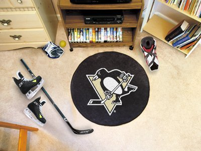 NHL Pittsburgh Penguins 26.5 Round Hockey Puck Mat by Fanmats (Penguins Pittsburgh Puck Mat)