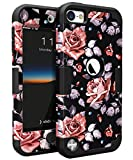 iPod Touch 5 Case,iPod Touch 6 Case,OBBCase Three Layer Heavy Duty Hybrid Sturdy Armor High Impact Resistant Protective Cover Case For Apple iPod 5/Apple iPod 6 Rose Flower/Black