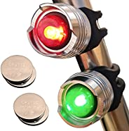 Bright Eyes Green & Red Aluminum Portable Marine LED Boating Lights - Boat Bow or Stern Emergency Backup S